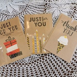3 Recycled Paper Greeting Cards & Envelopes